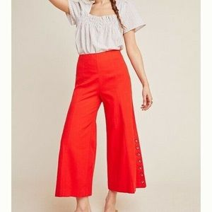 Anthropologie red bell capri linen pants